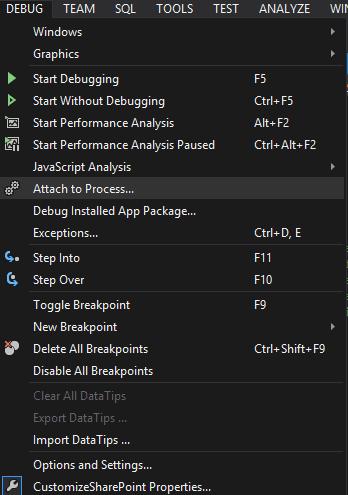 Visual Studio's Debug Menu