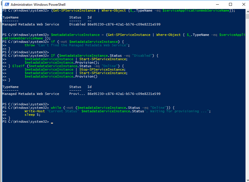 Creating the Managed Metadata Service Application with Powershell